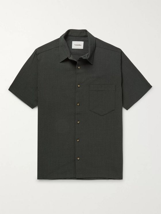 Nanushka Adam Micro-Checked Seersucker Shirt