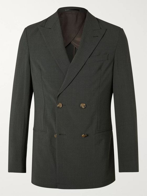 Nanushka Darwin Unstructured Double-Breasted Checked Seersucker Suit Jacket