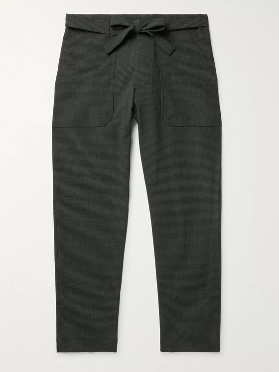 Nanushka Ron Slim-Fit Belted Checked Seersucker Suit Trousers