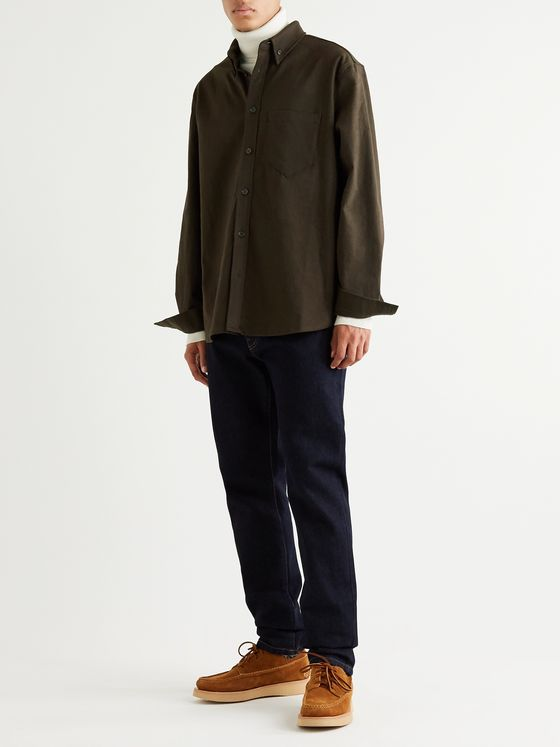 Nanushka Dome Button-Down Collar Stretch-Cotton Twill Shirt