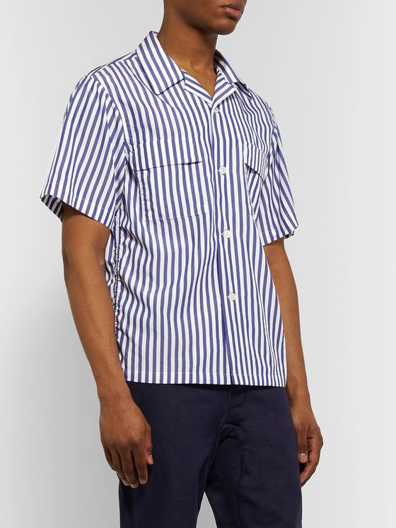 Chimala Camp-Collar Striped Matte-Satin Shirt