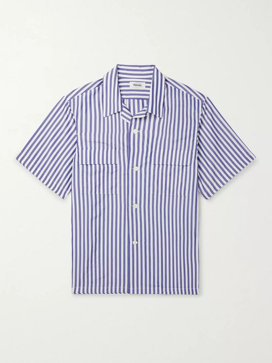 Chimala Camp-Collar Pinstriped Matte-Satin Shirt