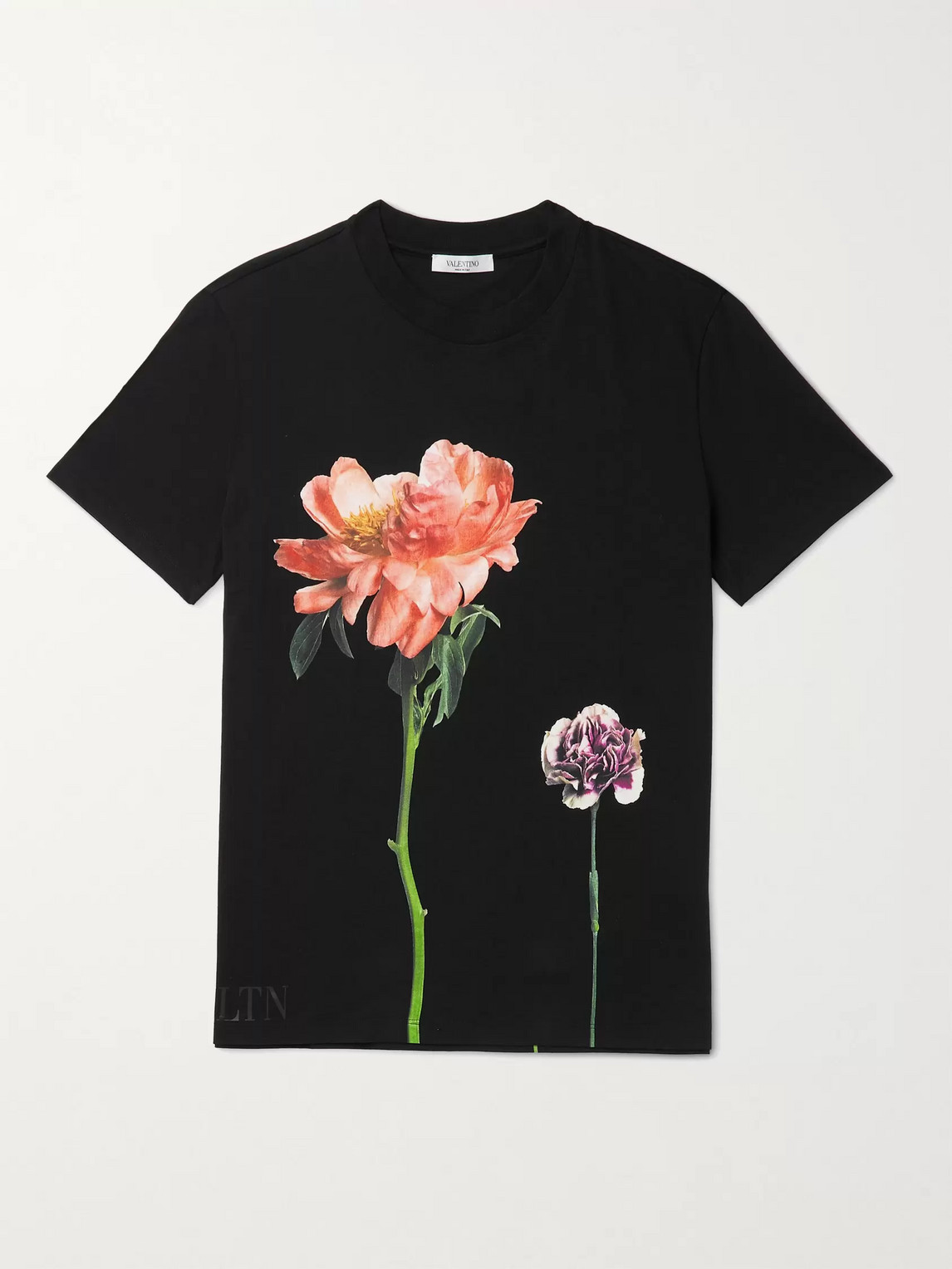 Valentino Printed Cotton-jersey T-shirt In Black