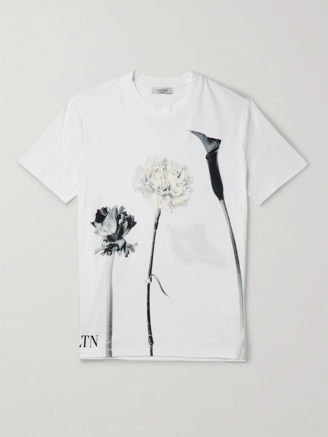 Valentino Printed Cotton-jersey T-shirt In White