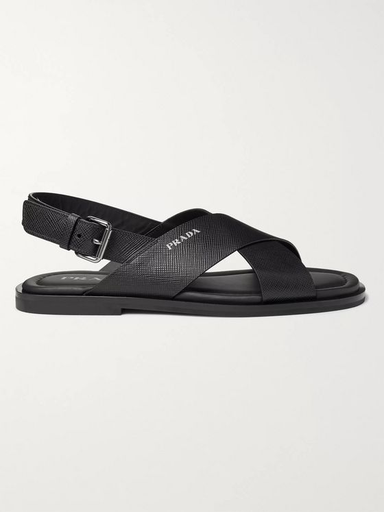Prada Logo-Detailed Saffiano Leather Sandals