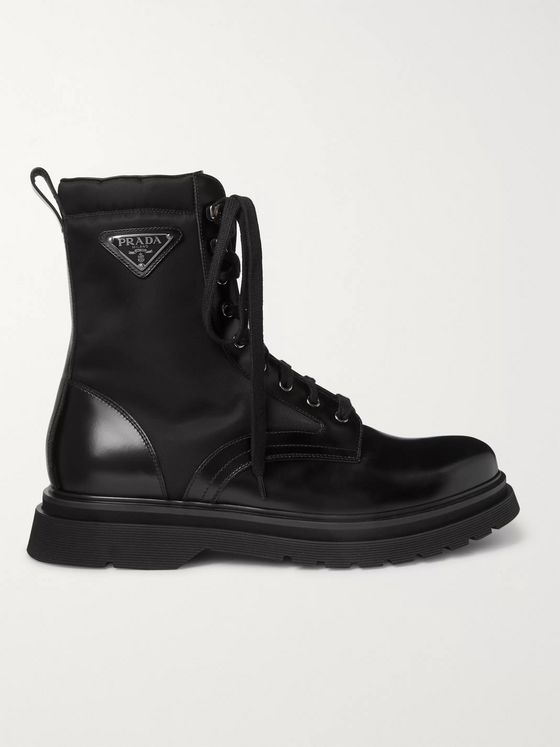 Prada Logo-Appliquéd Nylon-Trimmed Leather Boots