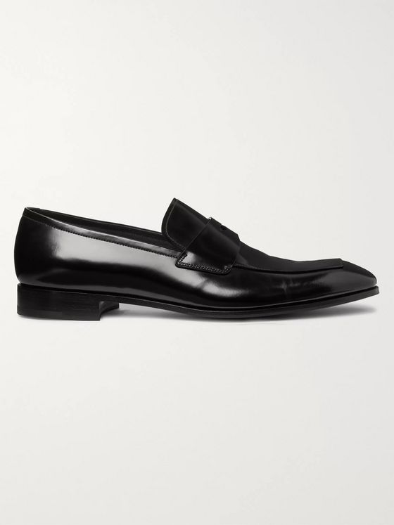 PRADA Polished-Leather Penny Loafers