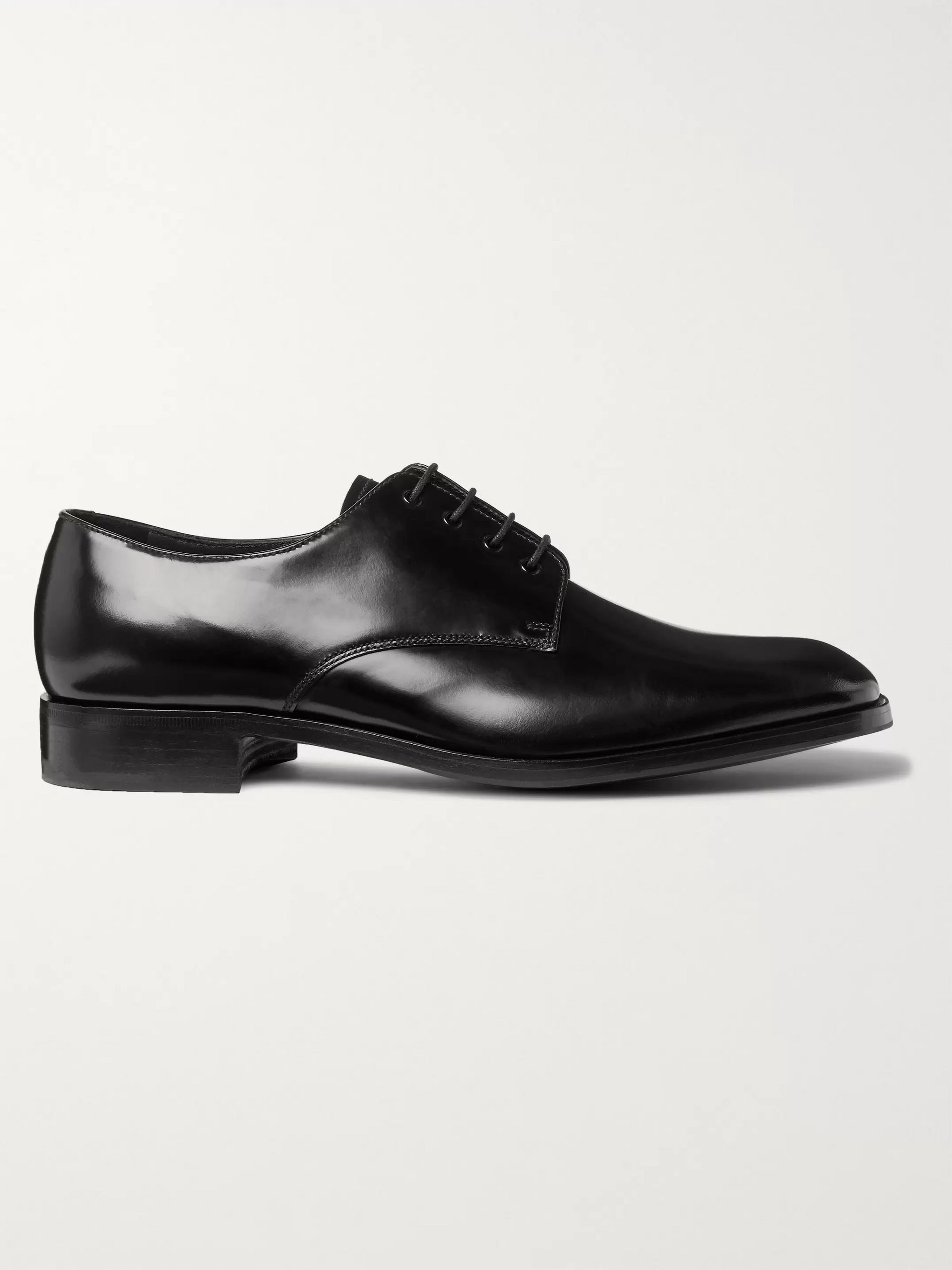 Prada Polished-Leather Derby Shoes
