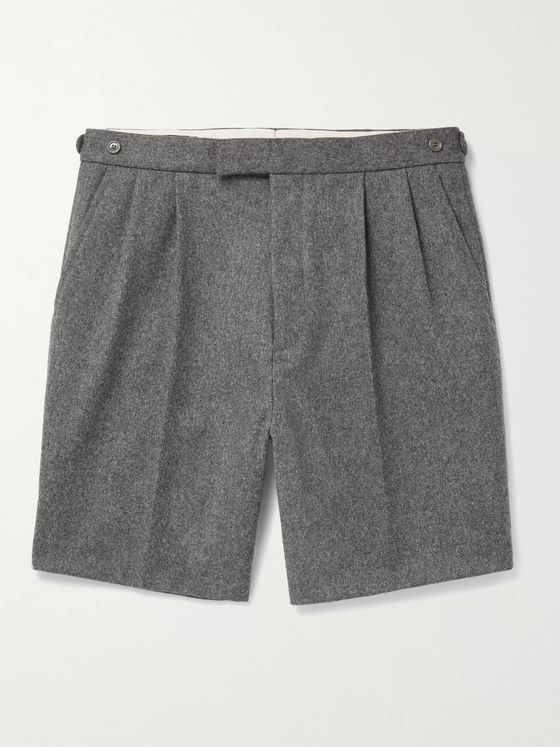 GUCCI Wide-Leg Pleated Wool-Flannel Shorts