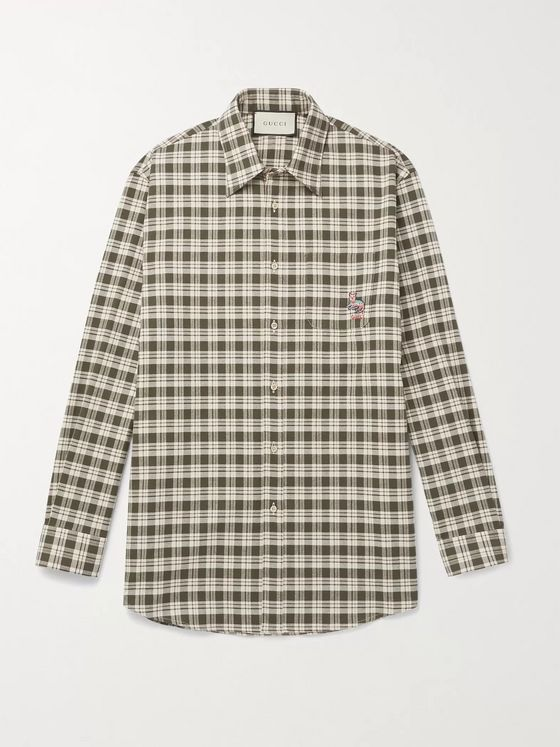 Gucci Embroidered Checked Cotton Shirt