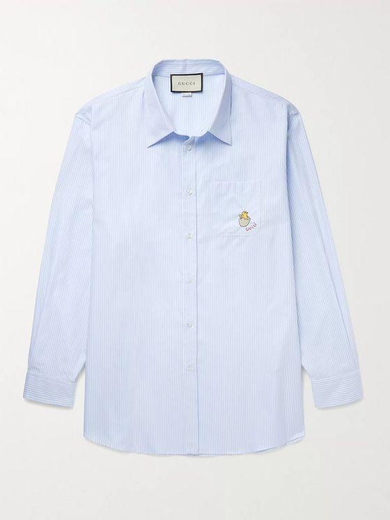 GUCCI Embroidered Pinstriped Cotton-Poplin Shirt