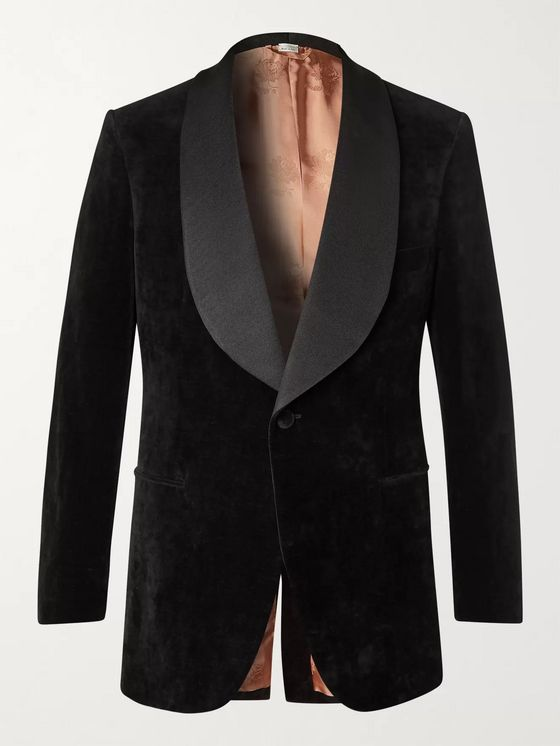 Gucci Faille-Trimmed Cotton and Linen-Blend Velvet Tuxedo Jacket