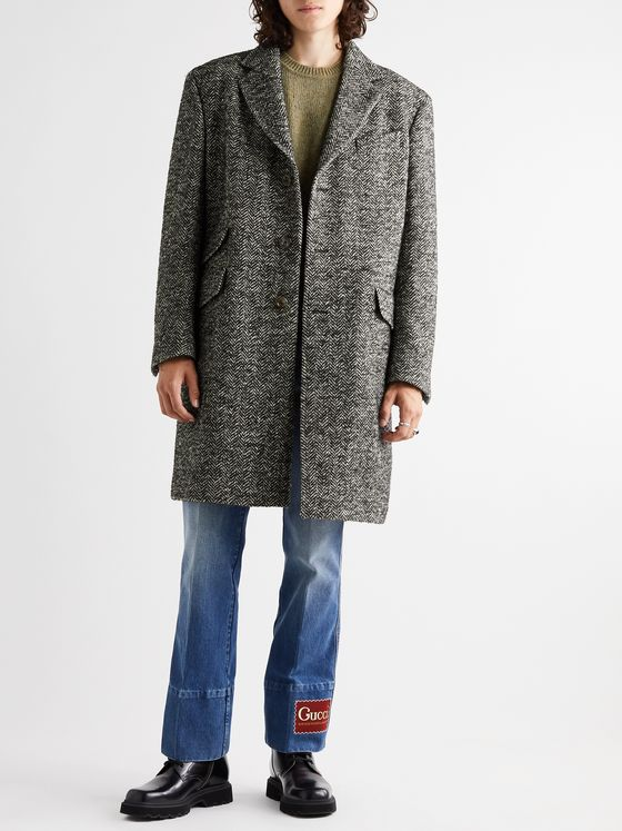 Gucci Herringbone Brushed Wool, Alpaca and Mohair-Blend Coat