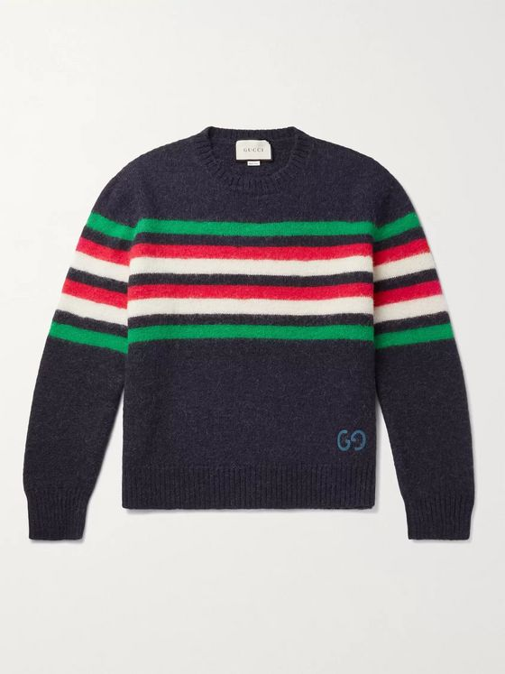 GUCCI Logo-Embroidered Striped Wool-Felt and Alpaca-Blend Sweater