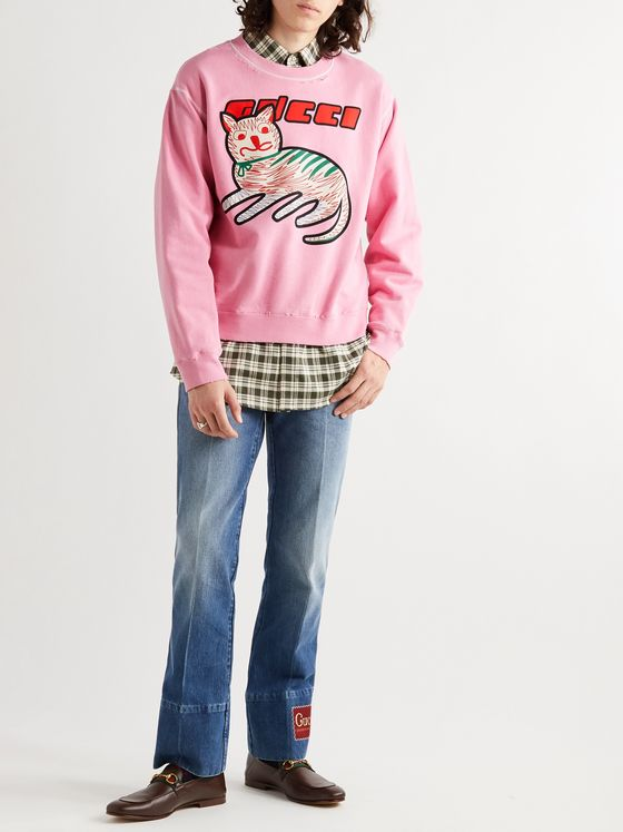 GUCCI Distressed Printed Loopback Cotton-Jersey Sweatshirt
