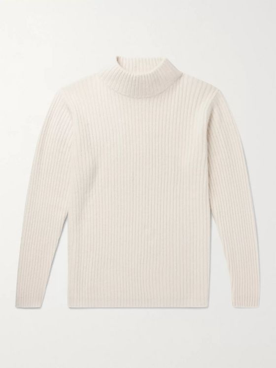 The Elder Statesman Ribbed Cashmere Mock-Neck Sweater