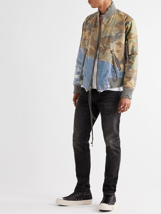 Greg Lauren 50/50 Panelled Denim and Camouflage-Print Cotton Bomber Jacket