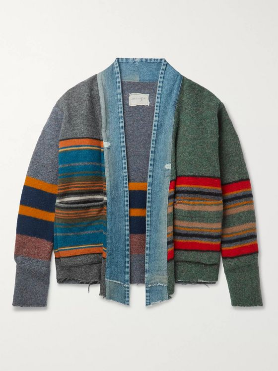 Greg Lauren Frayed Denim-Trimmed Striped Boiled Wool and Cotton-Blend Jacket