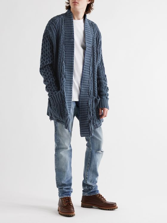Greg Lauren Cable-Knit Cotton Cardigan