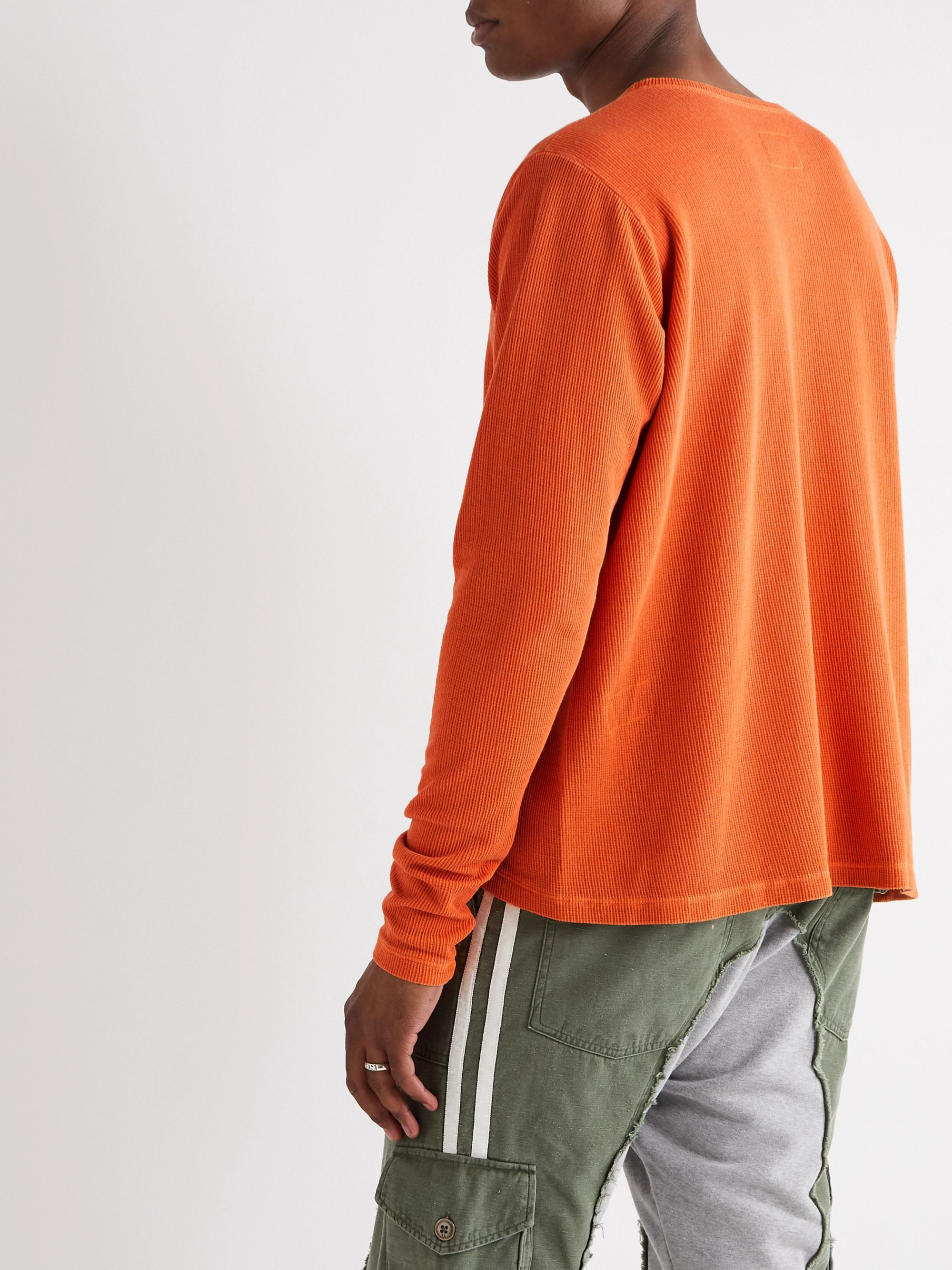 Greg Lauren Waffle-Knit Cotton-Blend Jersey T-Shirt