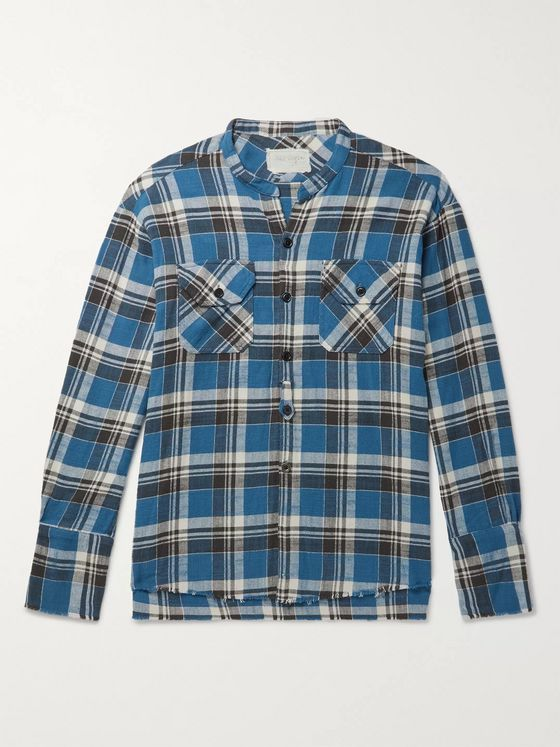 Greg Lauren Grandad-Collar Frayed Checked Cotton-Flannel Shirt