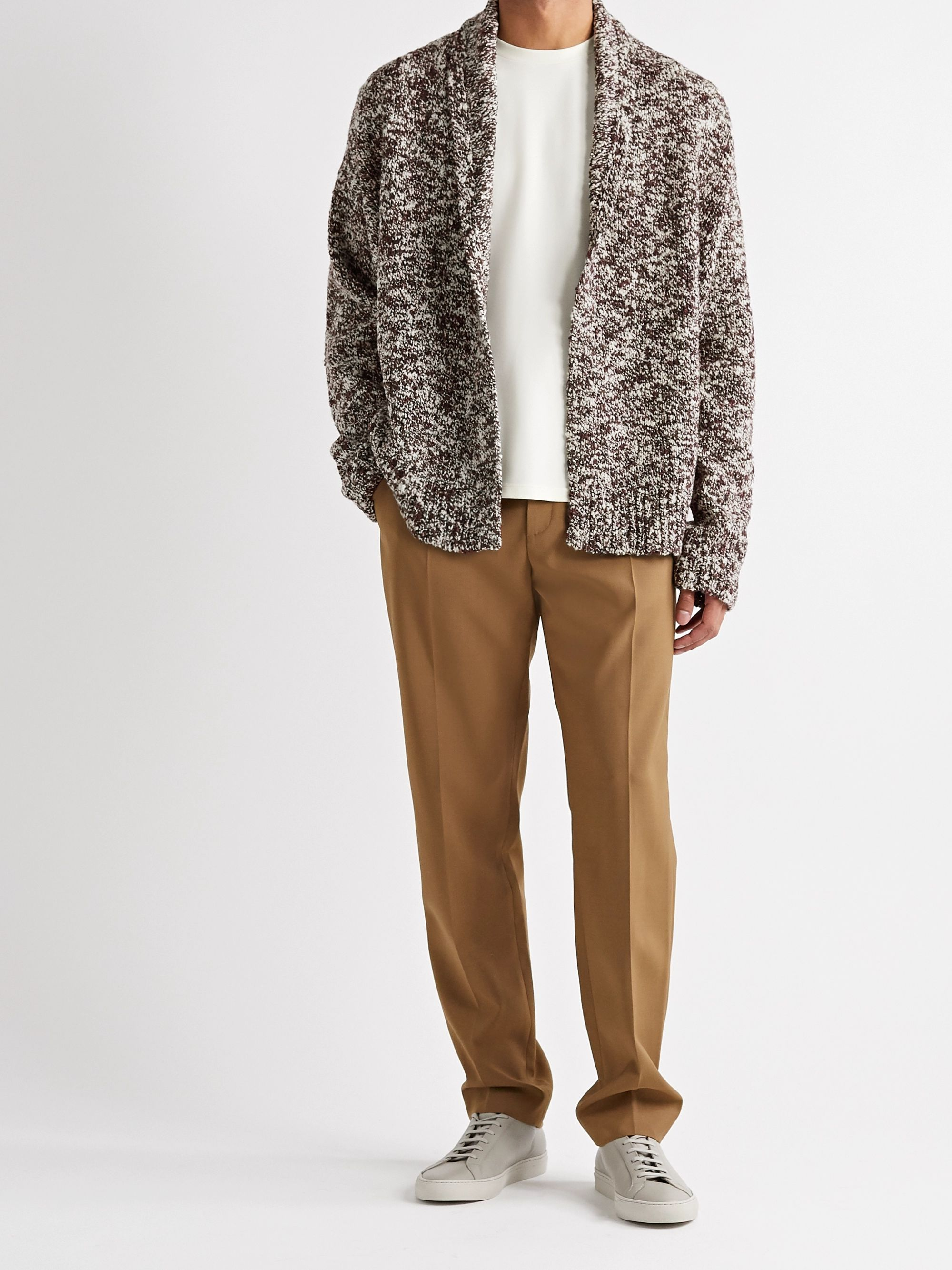 DEVEAUX Sean Shawl-Collar Wool-Blend Bouclé Cardigan