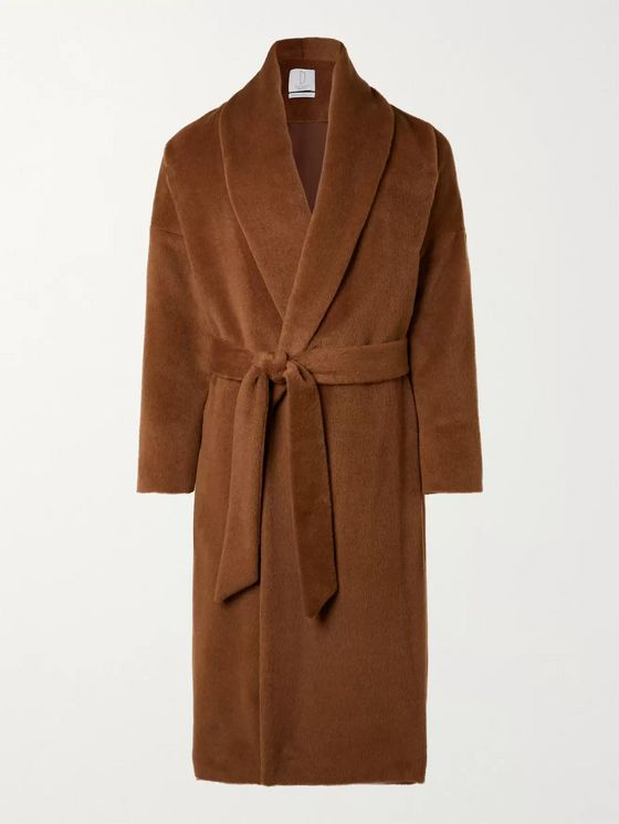 DEVEAUX Belted Alpaca and Wool-Blend Coat