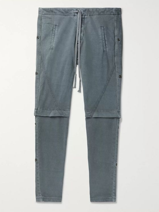 Greg Lauren Slim-Fit Layered Rivet-Detailed Loopback Cotton-Jersey Sweatpants