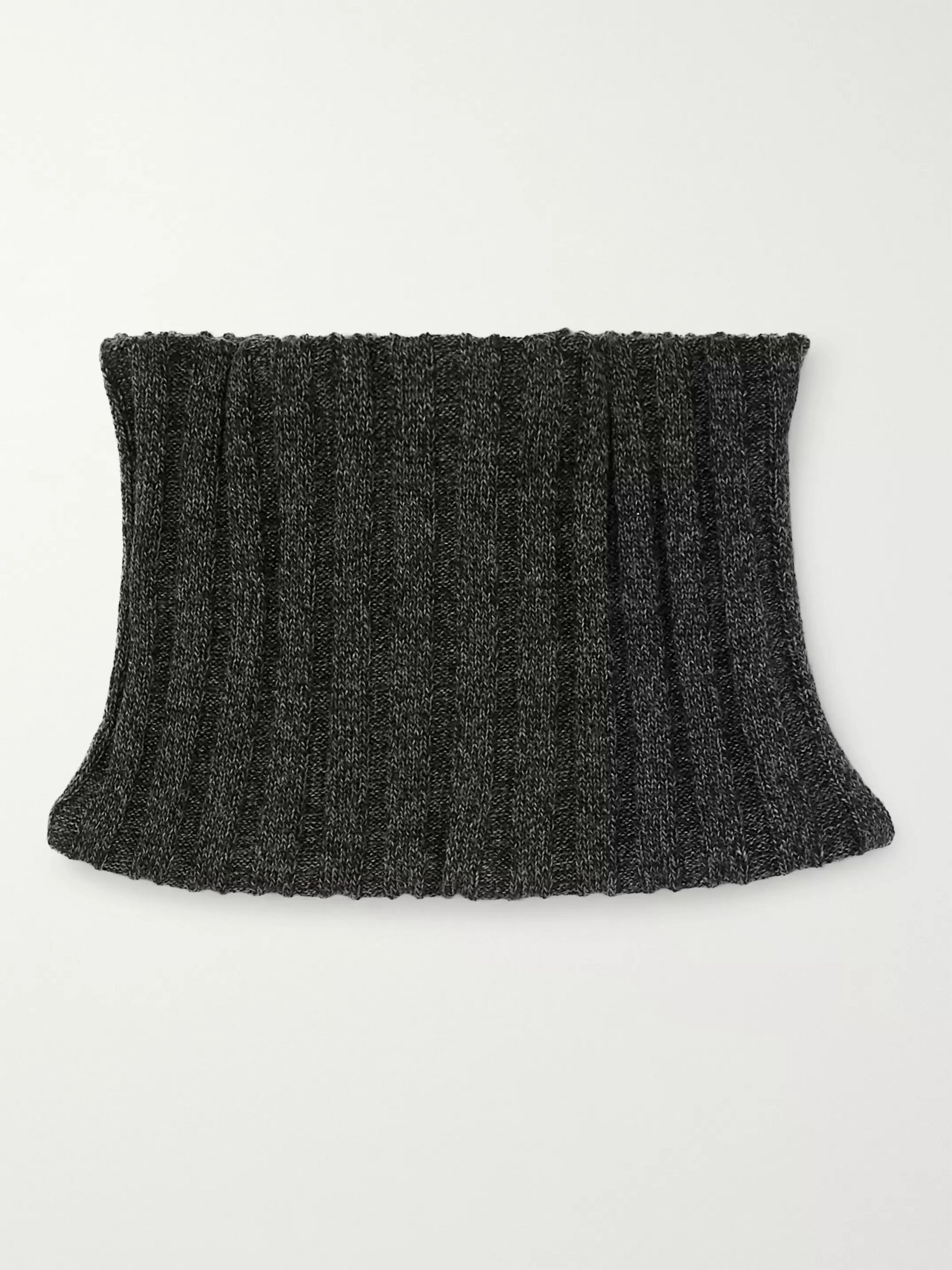 JW Anderson Mélange Ribbed Merino Wool Zip-Up Snood