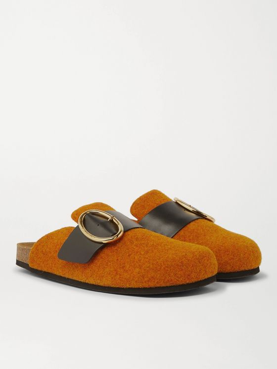 JW ANDERSON Leather-Trimmed Felt Backless Loafers