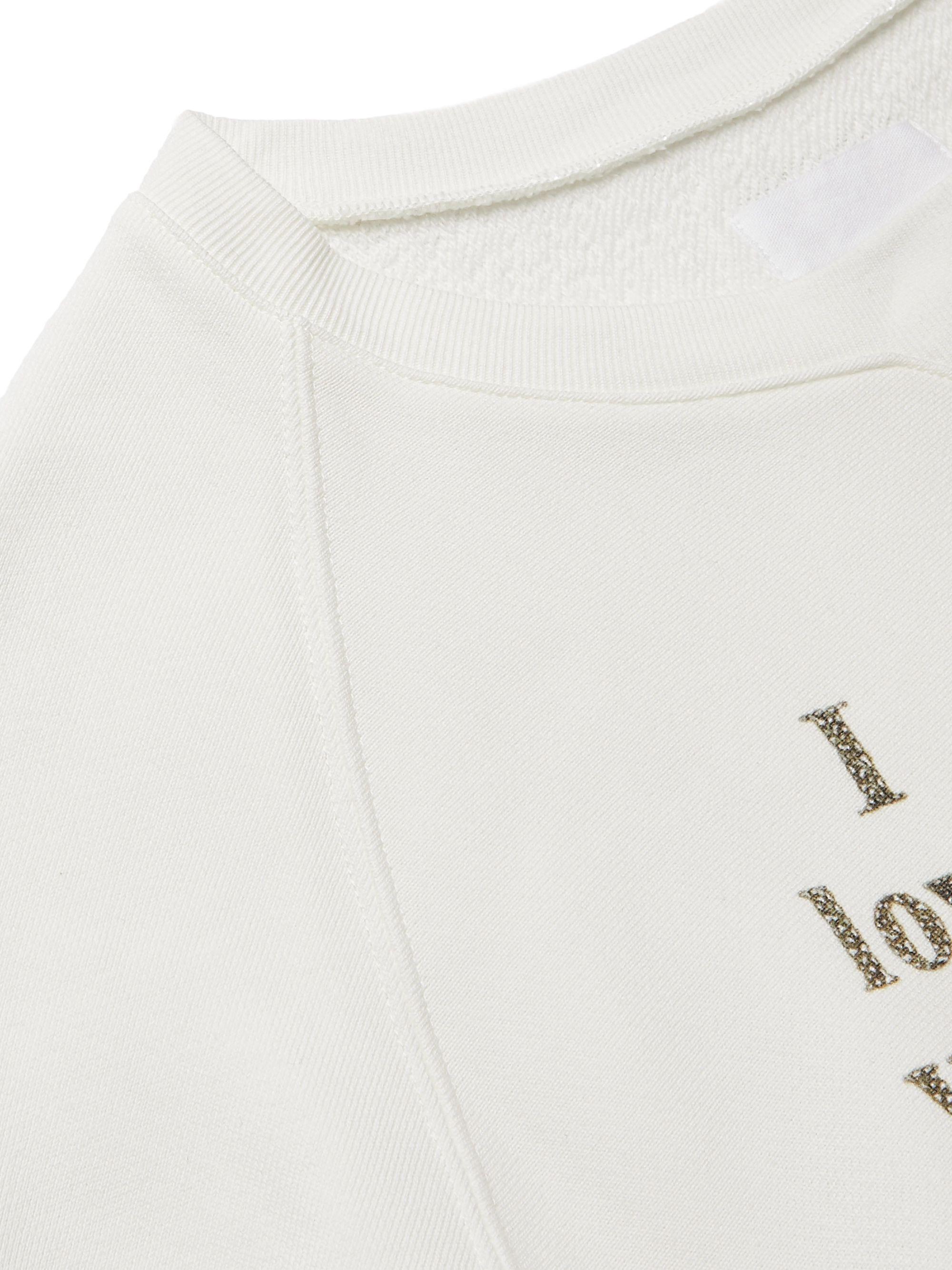 White Printed Loopback Cotton-jersey Sweatshirt | Takahiromiyashita Thesoloist.