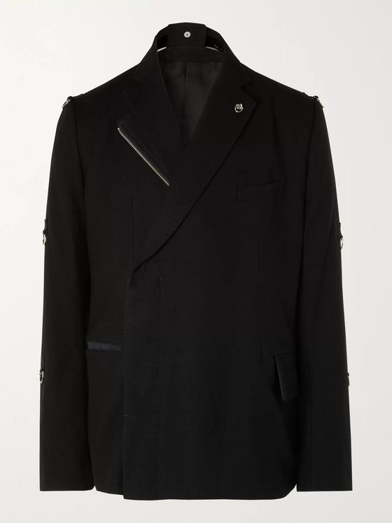 TAKAHIROMIYASHITA TheSoloist. Double-Breasted Embellished Layered Wool-Flannel Blazer
