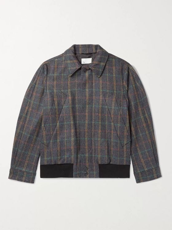4SDesigns Checked Wool-Blend Blouson Jacket