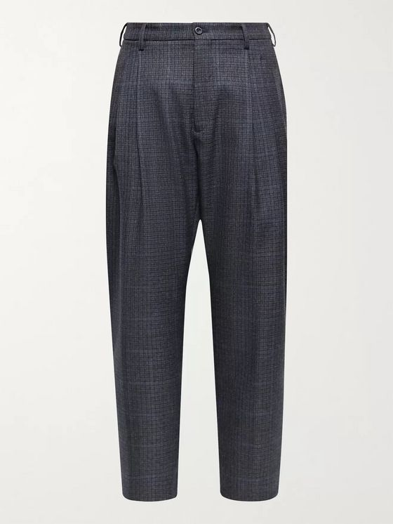 4SDesigns Tapered Cropped Checked Virgin Wool Trousers