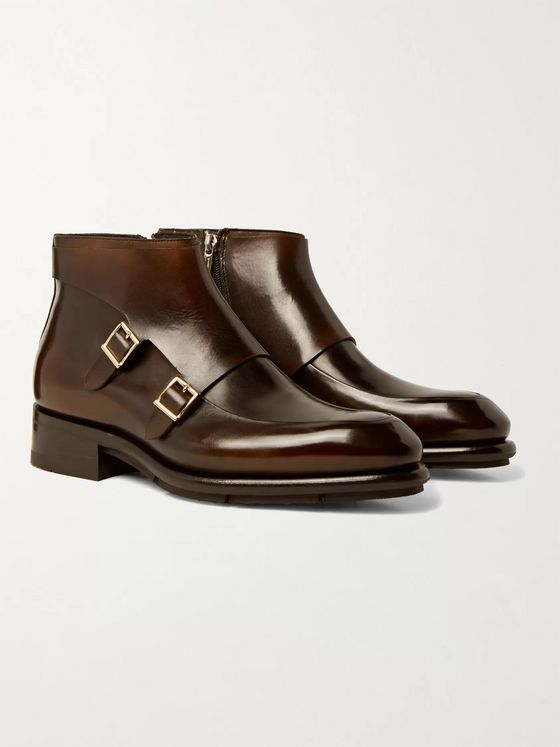 Santoni Polished-Leather Monk-Strap Boots