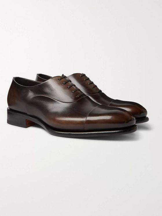 Santoni Polished-Leather Oxford Shoes
