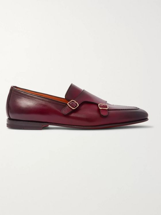 Santoni Burnished-Leather Monk-Strap Shoes