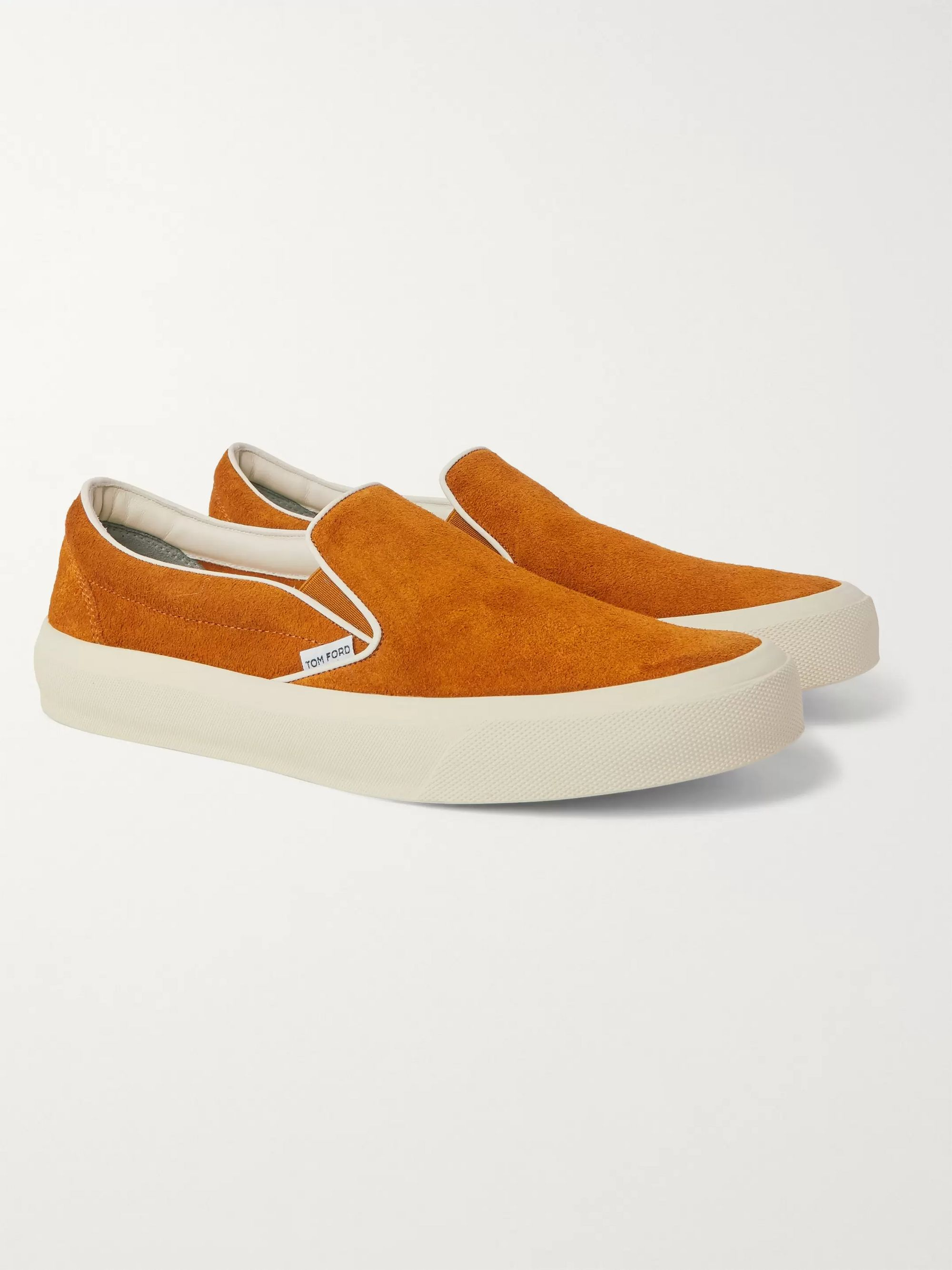 TOM FORD Cambridge Leather-Trimmed Suede Slip-On Sneakers
