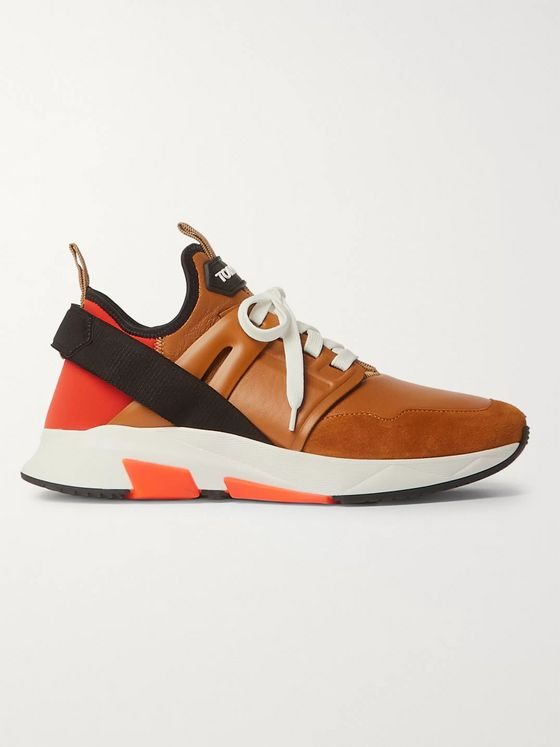 TOM FORD Jago Neoprene, Suede and Leather Sneakers
