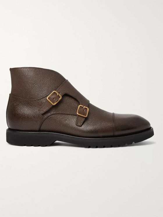TOM FORD Kensington Pebble-Grain Leather Monk-Strap Boots