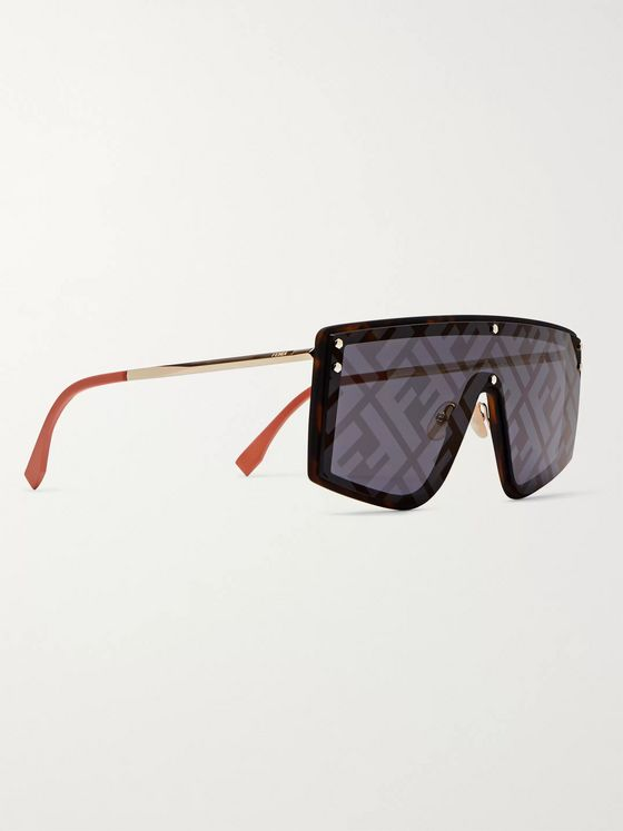 Fendi Shield-Frame Logo-Print Tortoiseshell Acetate and Gold-Tone Sunglasses