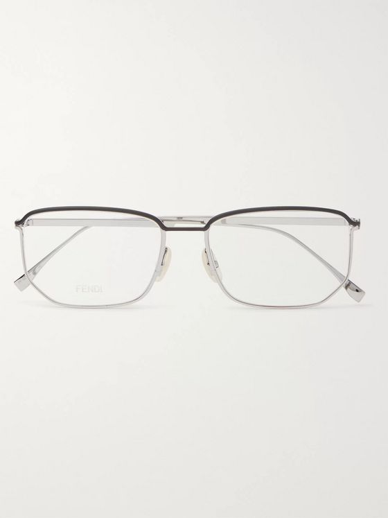 Fendi Rectangle-Frame Silver-Tone Metal Optical Glasses