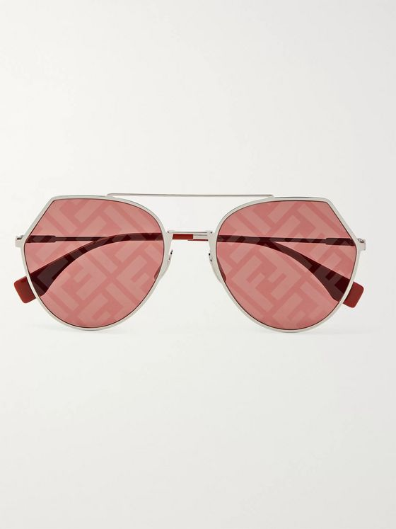 Fendi Round-Frame Silver-Tone and Acetate Logo-Print Sunglasses
