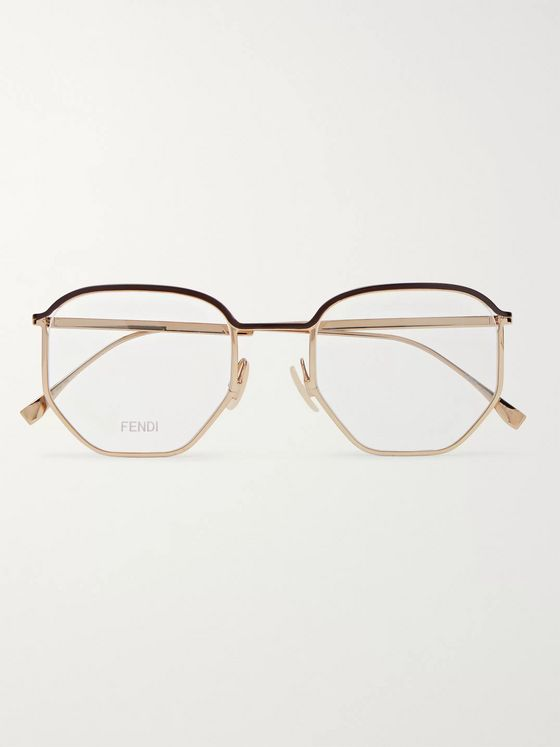 Fendi Round-Frame Acetate-Trimmed Gold-Tone Metal Optical Glasses