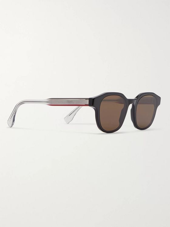 Fendi Square-Frame Acetate and Silver-Tone Sunglasses