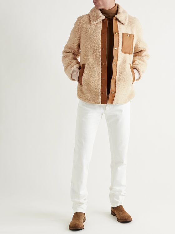 Tod's Leather-Trimmed Shearling Blouson Jacket