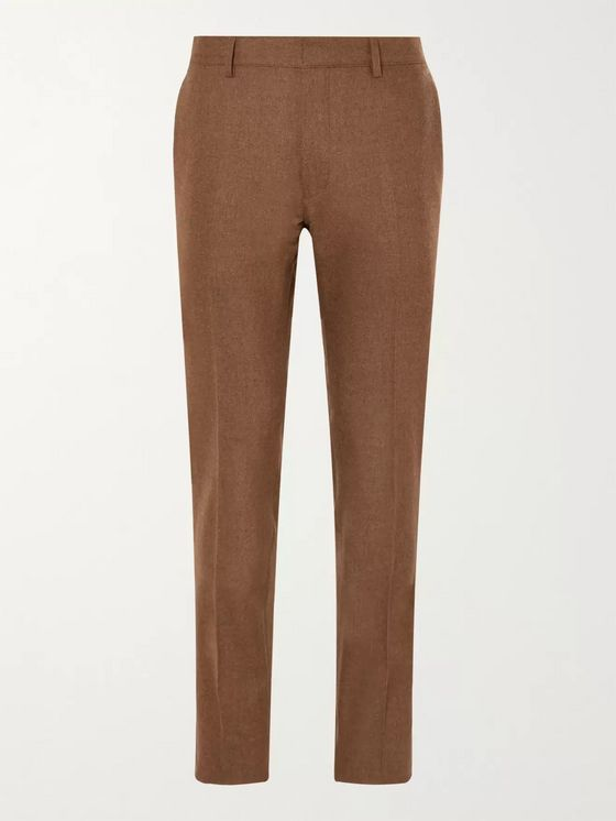 Tod's Tapered Mélange Virgin Wool-Blend Flannel Trousers