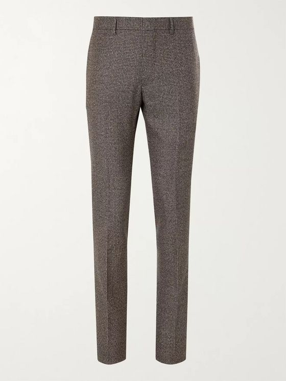 Tod's Slim-Fit Houndstooth Virgin Wool Suit Trousers
