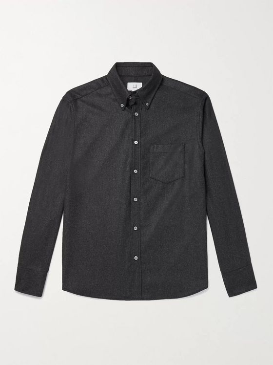 Dunhill Button-Down Collar Melangé Wool Shirt