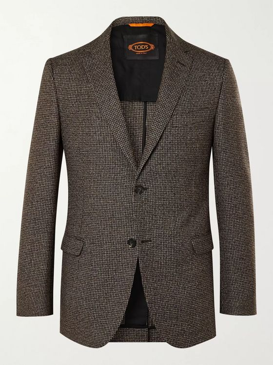 Tod's Unstructured Houndstooth Virgin Wool Suit Jacket